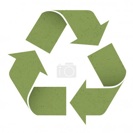 Illustration for Green reuse symbol, isolated on white. Vector, EPS10 - Royalty Free Image