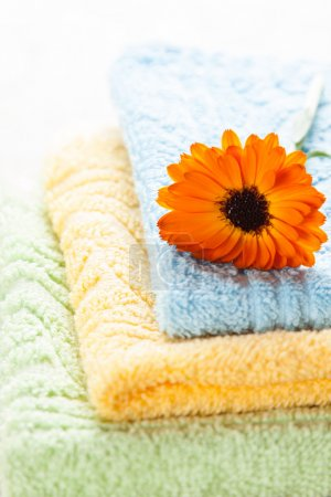 Colorful towels and orange flower