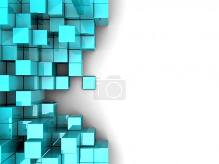 Photo for Blue modern cubes over white background - Royalty Free Image