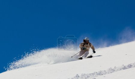 Skier in deep snow