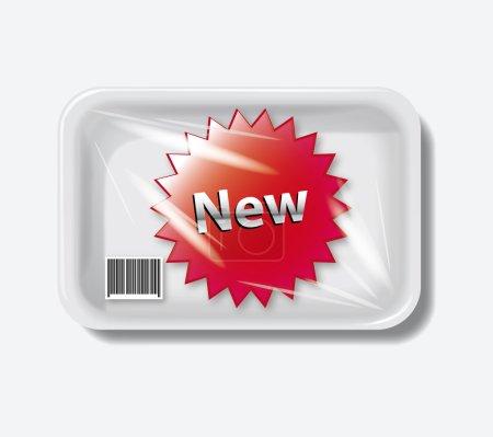 Illustration pour Conteneur nouveau récipient en plastique vide blanc de plateau alimentaire - image libre de droit