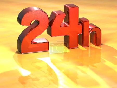 Photo pour Word 24h on yellow background (high resolution 3D image) - image libre de droit