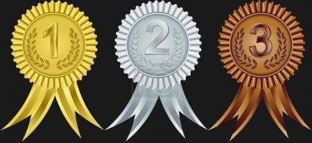 Award ribbons for first, second and third place, vector illustration
