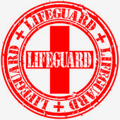 Grunge lifeguard rubber stamp vector illustration
