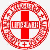Grunge lifeguard rubber stamp vector illustration