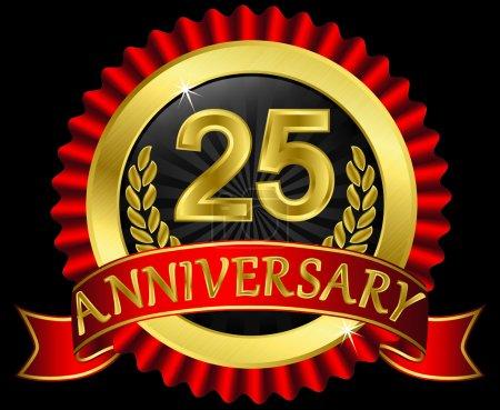 Illustration pour 25 ans étiquette d'or anniversaire avec rubans, illustration vectorielle - image libre de droit