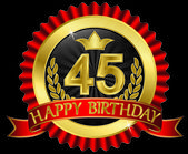 45 years happy birthday golden label with ribbons vector illustration