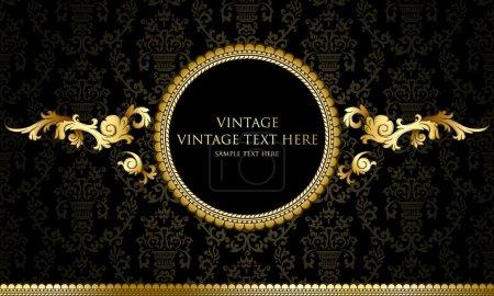 Illustration for Vintage background with damask pattern - Royalty Free Image