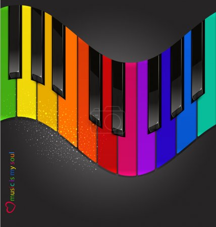 Vector colorful piano keyboard in the form of waves on a black b