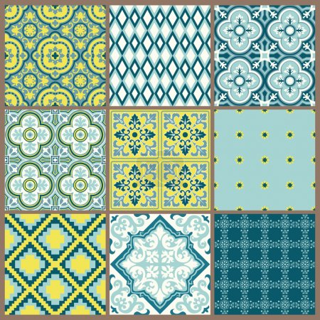Illustration for Seamless backgrounds Collection - Vintage Tile - for design and scrapbook - in vector - Royalty Free Image