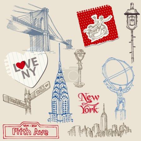 Photo pour Scrapbook Design Elements - New York Doodle Set - vectoriel - image libre de droit