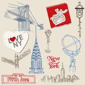 Scrapbook Design Elements - New York Doodle Set - in vector