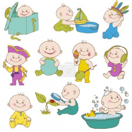 Illustration pour Baby Boy Doodle Set - pour le design, scrapbook, douche ou cartes d'arrivée - en vecteur - image libre de droit