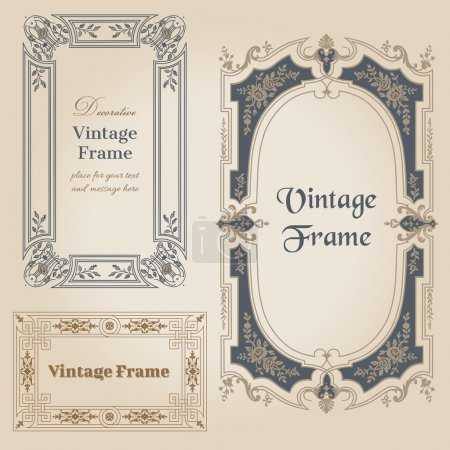 Illustration for Vintage frames and design elements - with place for your text - in vector - Royalty Free Image
