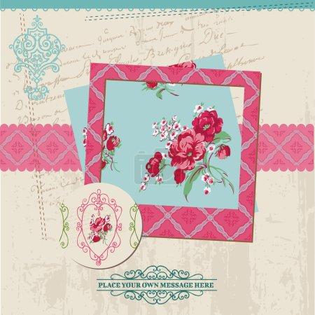 Illustration pour Éléments de conception Scrapbook - Vintage Flower Card avec cadre photo - dans le vecteur - image libre de droit