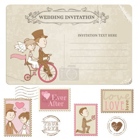 Wedding Postcard and Postage Stamps - for wedding design