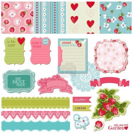 Illustration pour Éléments de conception de scrapbooking - vintage fleurs et jeu de fraise - vecteur - image libre de droit