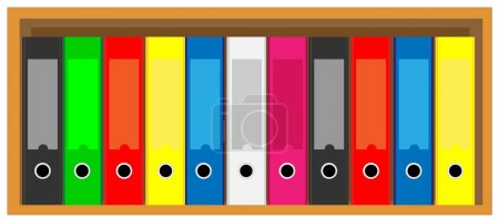 Illustration of book shelves with colorful folders...
