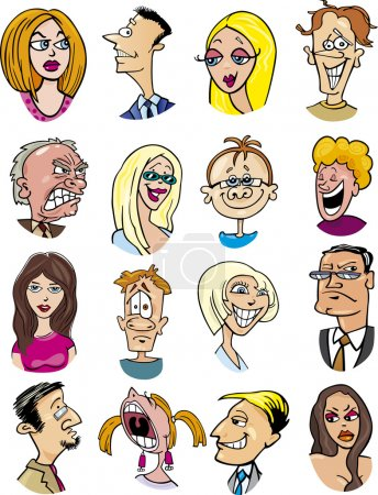 Illustration for Cartoon illustration of different characters and emotions - Royalty Free Image