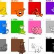 Cartoon Illustration of Primary Colors with Animal...