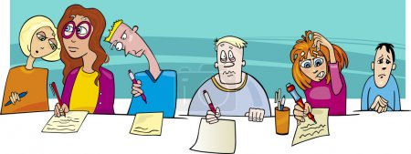 Illustration for Cartoon Illustration of Pupils writing Difficult Test or Exam - Royalty Free Image