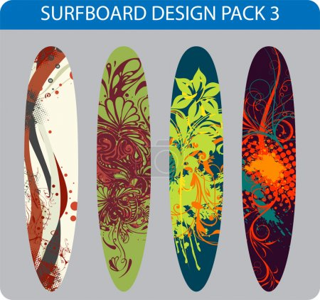 Vector pack of four colorful surfboard designs...