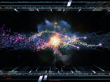 Photo pour Abstrait arrangement de grilles de fractale, les lumières et les notes de musique adaptés comme toile de fond aux projets sur les technologies audio et musique - image libre de droit