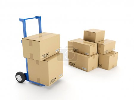 Photo for 3d illustration: Delivery of possession of the goods. Trolley with a group of cardboard boxes on a white background - Royalty Free Image