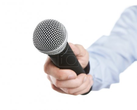 Photo for Male hand holding microphone for the interview isolated on white background - Royalty Free Image