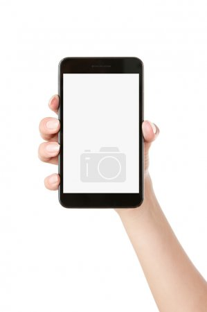 Hand holding blank smart phone