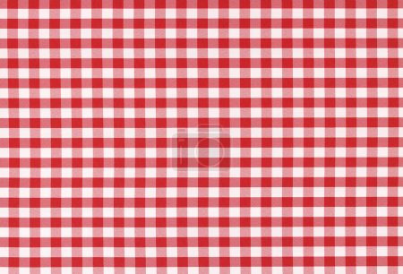 Photo for Classic linen red and white checked tablecloth texture with copy space - Royalty Free Image