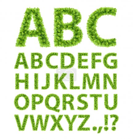 Illustration for Green Leaves font. Vector illustration. - Royalty Free Image