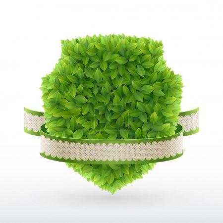 Illustration for Farm Fresh label Green leaves. Vector illustration. - Royalty Free Image