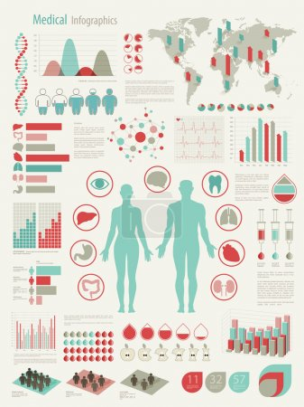 Illustration for Medical Infographic set with charts and other elements. Vector illustration. - Royalty Free Image