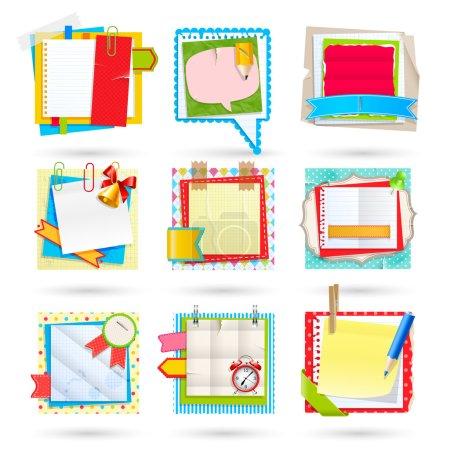 Illustration pour Des notes d'école. Éléments de scrapbooking . - image libre de droit