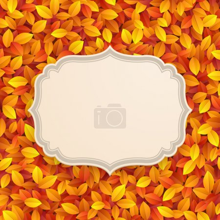 Illustration for Vintage card on autumn leaves texture. Vector illustration. - Royalty Free Image