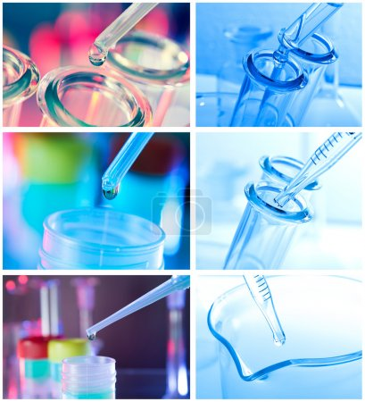 Test tubes closeup on blue background.