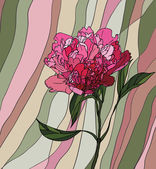 Multicolored stained glass with floral motif a peony on a multicolored striped background