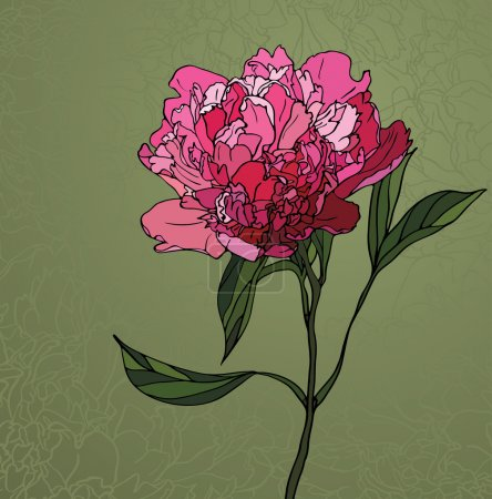 Illustration for Multicolored stained glass with floral motif, a peony on a green background - Royalty Free Image
