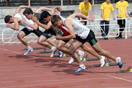 Yalta, Ukraine - May 24: athletes at the start on the international athletic meet UKRAINE - TURKEY - BELARUS on May 24, 2012 in Yalta, Ukraine.
