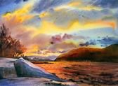 """Постер, картина, фотообои """"горный пейзаж нарисован акварелью"""""""