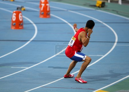 Luguelín Santos from Dominican Republic celebrates the winning of the 400 meters final on the 2012 World Junior Athletics Championships on July 12, 2012 in Barcelona, Spain