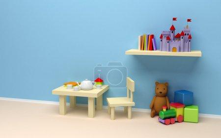Photo pour Chambre des enfants avec des jouets. un mur blanc, une table à café et des livres, le château sur le plateau, les ours en peluche, les train et les cubes. - image libre de droit