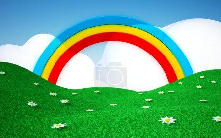 grüne Wiese mit Regenbogen