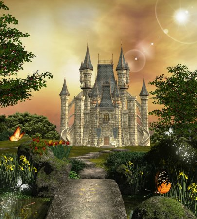 Photo for Castle in an enchanted garden - Royalty Free Image