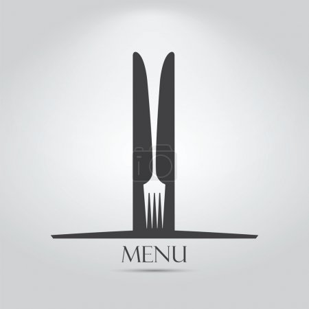 Illustration for Elegant menu design with one fork and two knives. - Royalty Free Image