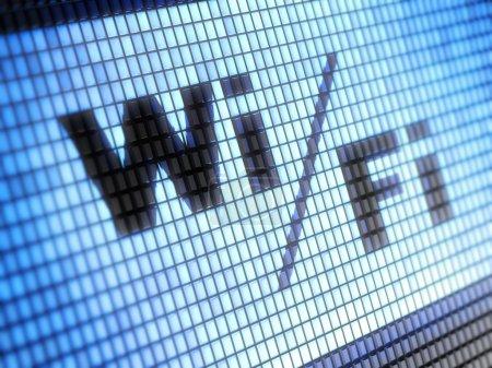 Photo pour Inscription moniteur bleu Wi-fi - image libre de droit