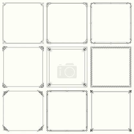 Illustration for Nine different decorative frames - Royalty Free Image