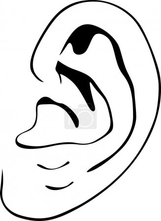 Illustration for Human ear on white background - Royalty Free Image