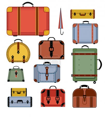 Illustration for Travel bags in various colors on a white background - Royalty Free Image